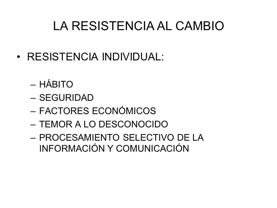 RESISTENCIA AL CAMBIO RESISTENCIA ORGANIZACIONAL: –INERCIA ESTRUCTURAL –ENFOQUE LIMITADO DEL CAMBIO –INERCIA DE GRUPO –AMENAZA A LA EXPERIENCIA –AMENAZA A LAS RELACIONES DE PODER –AMENAZA A LA DISTRIBUCIÓN ESTABLECIDA DE LOS RECURSOS