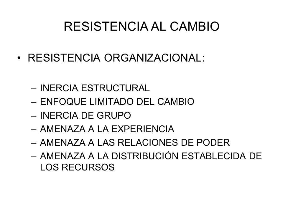 RESISTENCIA AL CAMBIO RESISTENCIA ORGANIZACIONAL: –INERCIA ESTRUCTURAL –ENFOQUE LIMITADO DEL CAMBIO –INERCIA DE GRUPO –AMENAZA A LA EXPERIENCIA –AMENA
