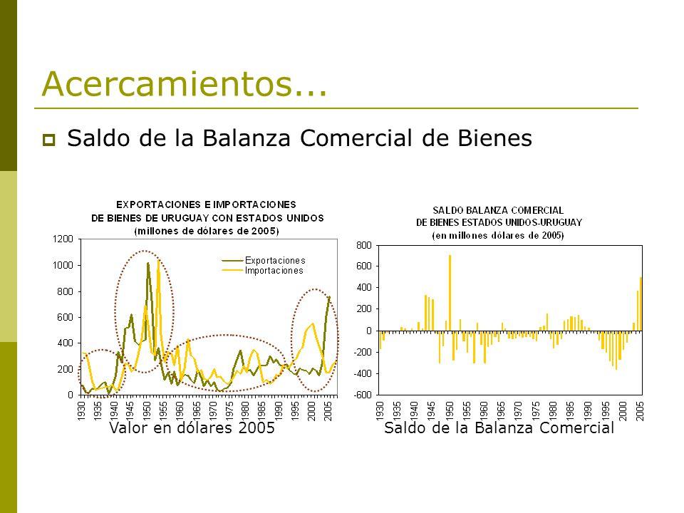 Acercamientos... Saldo de la Balanza Comercial de Bienes Valor en dólares 2005 Saldo de la Balanza Comercial