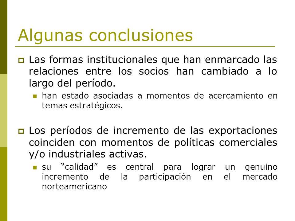 Algunas conclusiones Las formas institucionales que han enmarcado las relaciones entre los socios han cambiado a lo largo del período.