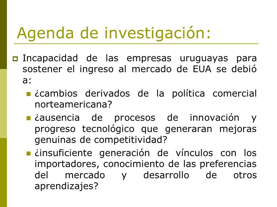 Agenda de investigación: Incapacidad de las empresas uruguayas para sostener el ingreso al mercado de EUA se debió a: ¿cambios derivados de la polític