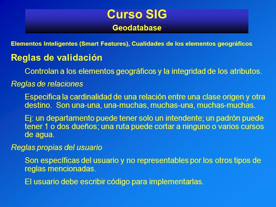 Elementos Inteligentes (Smart Features), Cualidades de los elementos geográficos Reglas de validación Controlan a los elementos geográficos y la integ