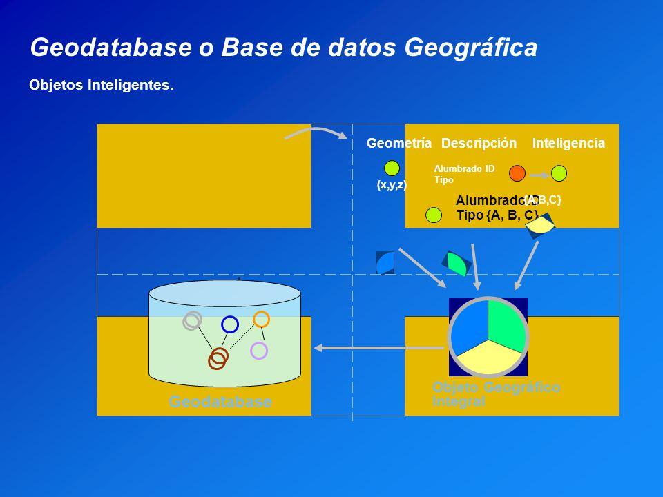 Alumbrado ID Tipo {A, B, C} Geometría Descripción Inteligencia (x,y,z) Alumbrado ID Tipo {A,B,C} Objeto Geográfico Integral Geodatabase Geodatabase o