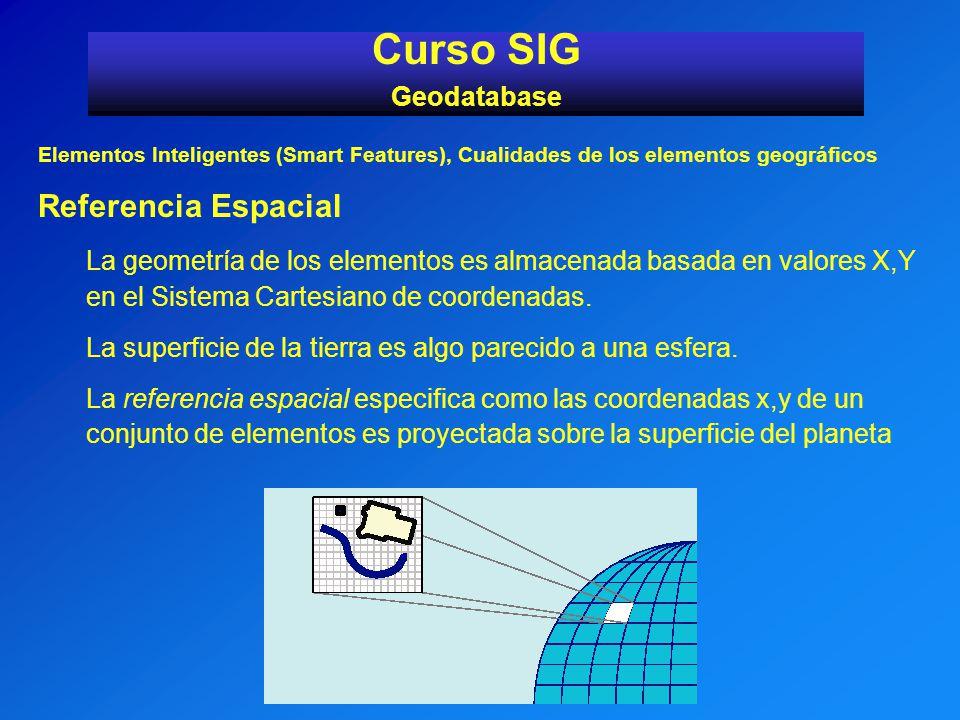 Elementos Inteligentes (Smart Features), Cualidades de los elementos geográficos Referencia Espacial La geometría de los elementos es almacenada basad