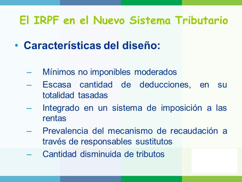 El IRPF en el Nuevo Sistema Tributario Características del diseño: –Mínimos no imponibles moderados –Escasa cantidad de deducciones, en su totalidad tasadas –Integrado en un sistema de imposición a las rentas –Prevalencia del mecanismo de recaudación a través de responsables sustitutos –Cantidad disminuida de tributos