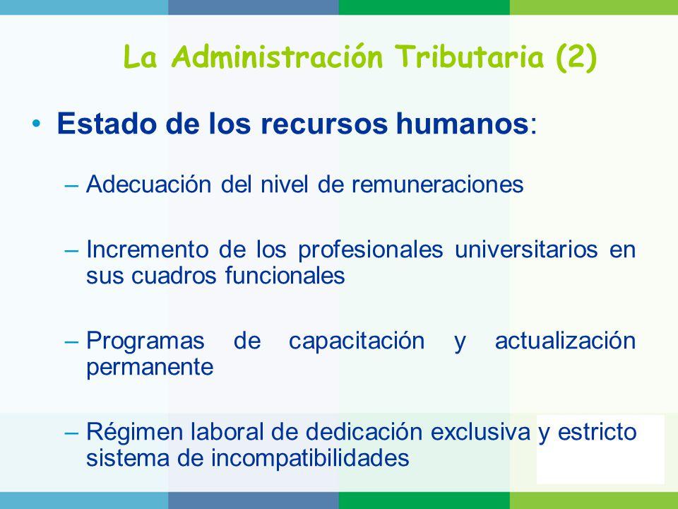 La Administración Tributaria (2) Estado de los recursos humanos: –Adecuación del nivel de remuneraciones –Incremento de los profesionales universitari