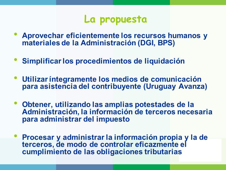 La propuesta Aprovechar eficientemente los recursos humanos y materiales de la Administración (DGI, BPS) Simplificar los procedimientos de liquidación