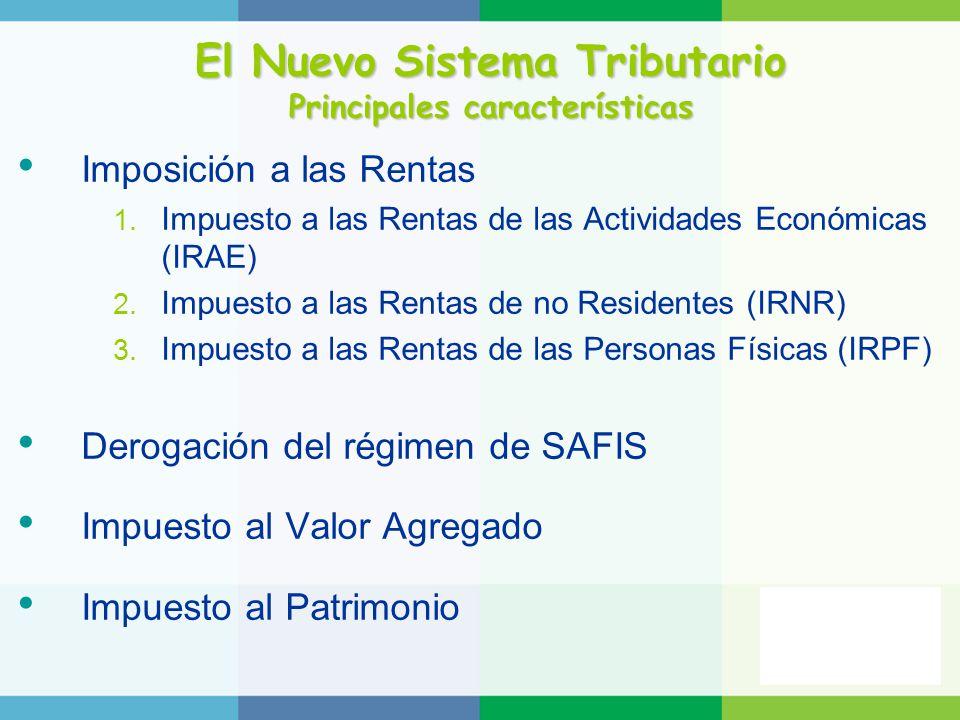 El Nuevo Sistema Tributario Principales características Imposición a las Rentas 1. Impuesto a las Rentas de las Actividades Económicas (IRAE) 2. Impue