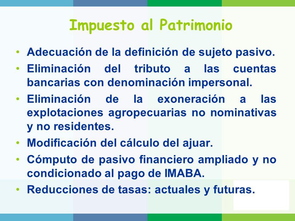 Impuesto al Patrimonio Adecuación de la definición de sujeto pasivo.