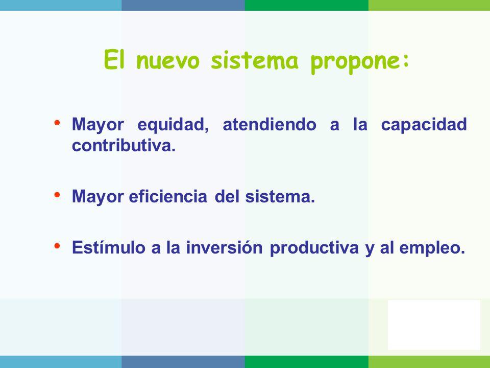 El nuevo sistema propone: Mayor equidad, atendiendo a la capacidad contributiva. Mayor eficiencia del sistema. Estímulo a la inversión productiva y al