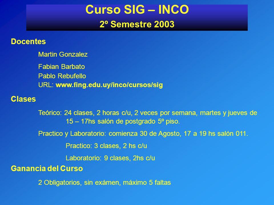 Curso SIG – INCO 2º Semestre 2003 Docentes Martin Gonzalez Fabian Barbato Pablo Rebufello URL: www.fing.edu.uy/inco/cursos/sig Clases Teórico: 24 clas