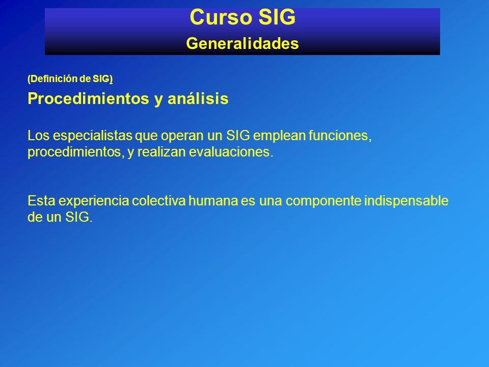 Curso SIG Generalidades (Definición de SIG) Procedimientos y análisis Los especialistas que operan un SIG emplean funciones, procedimientos, y realiza