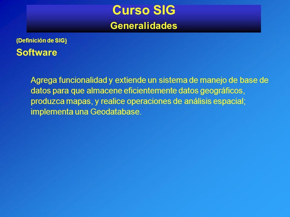 (Definición de SIG) Software Agrega funcionalidad y extiende un sistema de manejo de base de datos para que almacene eficientemente datos geográficos,