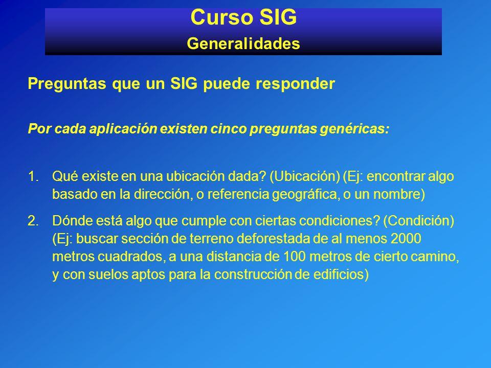 Preguntas que un SIG puede responder Por cada aplicación existen cinco preguntas genéricas: 1.Qué existe en una ubicación dada? (Ubicación) (Ej: encon