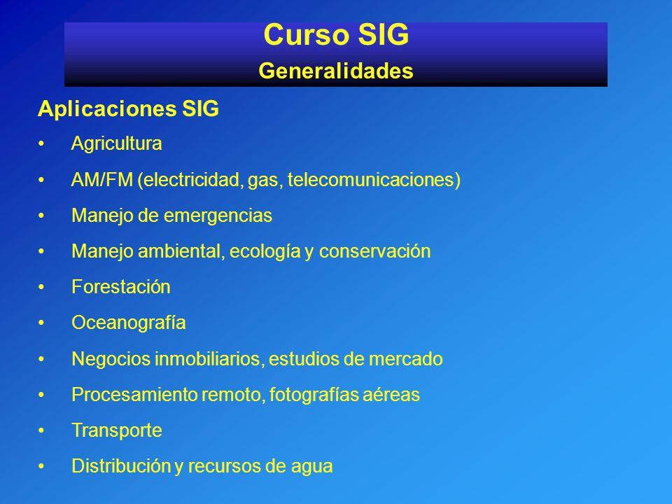 Aplicaciones SIG Agricultura AM/FM (electricidad, gas, telecomunicaciones) Manejo de emergencias Manejo ambiental, ecología y conservación Forestación