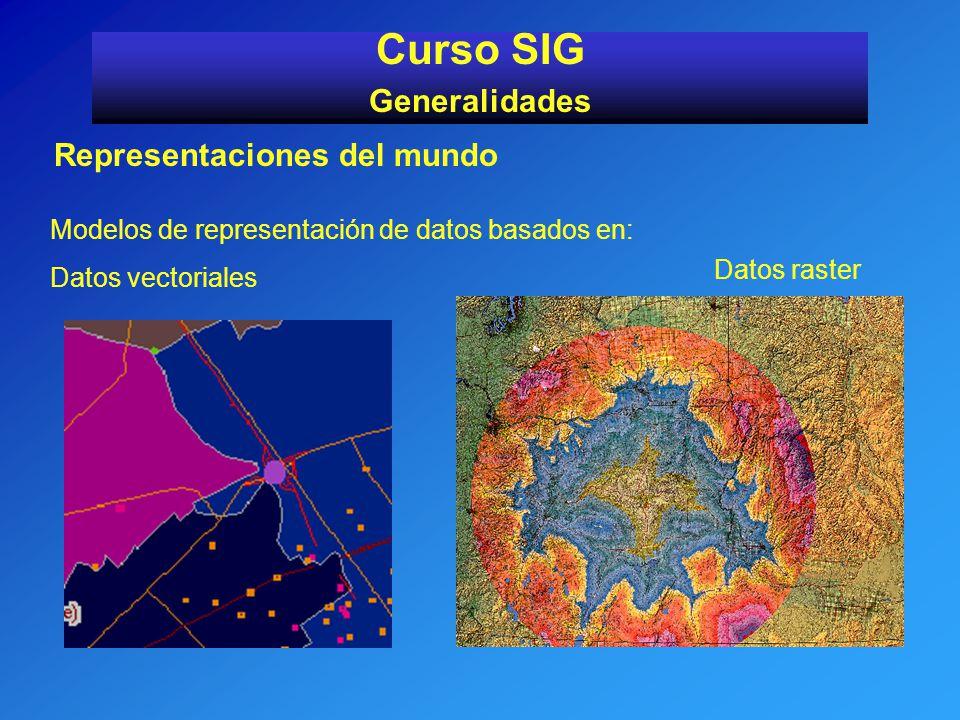 Representaciones del mundo Curso SIG Generalidades Modelos de representación de datos basados en: Datos vectoriales Datos raster
