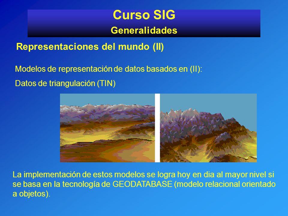 Representaciones del mundo (II) Curso SIG Generalidades Modelos de representación de datos basados en (II): Datos de triangulación (TIN) La implementa