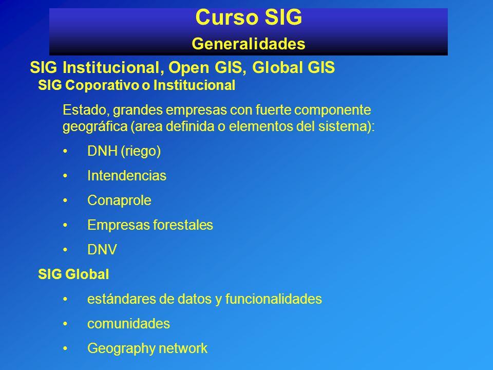 SIG Institucional, Open GIS, Global GIS Curso SIG Generalidades SIG Coporativo o Institucional Estado, grandes empresas con fuerte componente geográfi