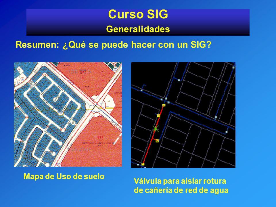 Resumen: ¿Qué se puede hacer con un SIG? Curso SIG Generalidades Mapa de Uso de suelo Válvula para aislar rotura de cañería de red de agua