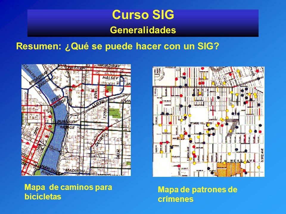 Resumen: ¿Qué se puede hacer con un SIG? Curso SIG Generalidades Mapa de caminos para bicicletas Mapa de patrones de crímenes