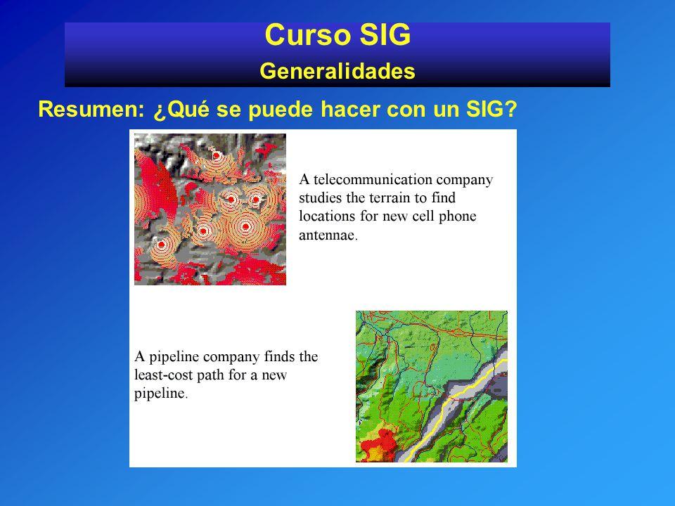 Resumen: ¿Qué se puede hacer con un SIG? Curso SIG Generalidades
