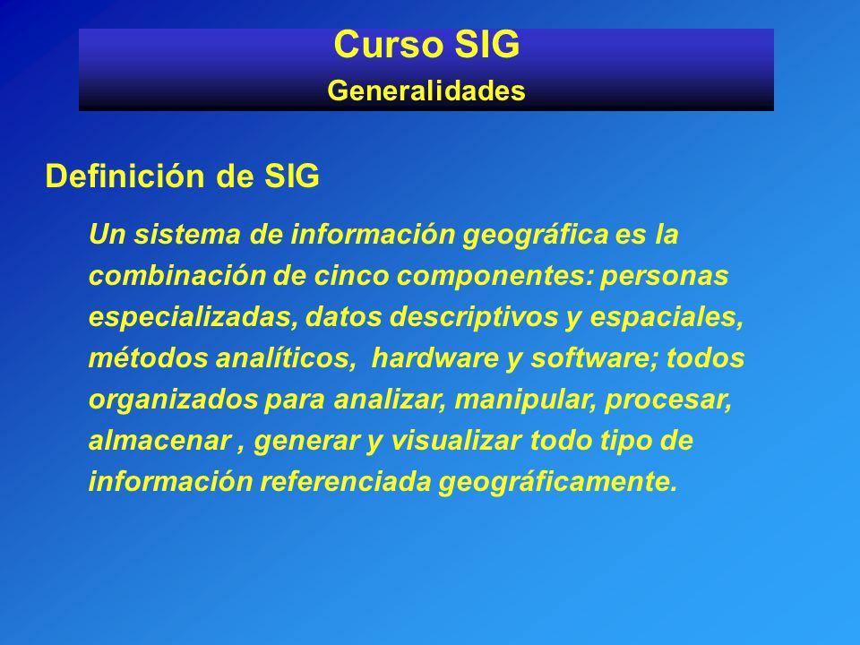 Definición de SIG Un sistema de información geográfica es la combinación de cinco componentes: personas especializadas, datos descriptivos y espaciale