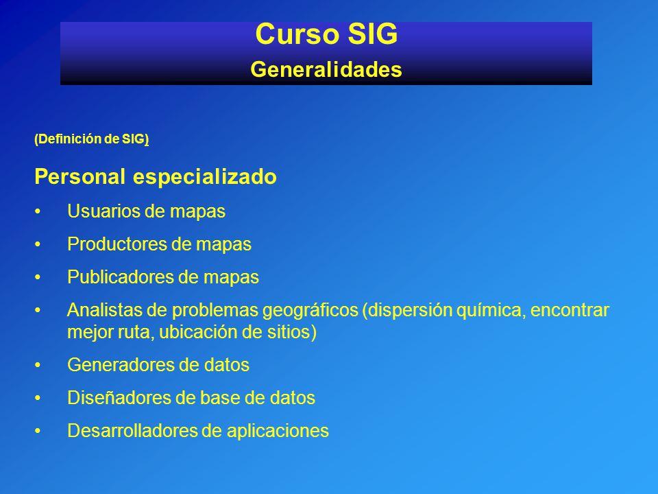 (Definición de SIG) Personal especializado Usuarios de mapas Productores de mapas Publicadores de mapas Analistas de problemas geográficos (dispersión