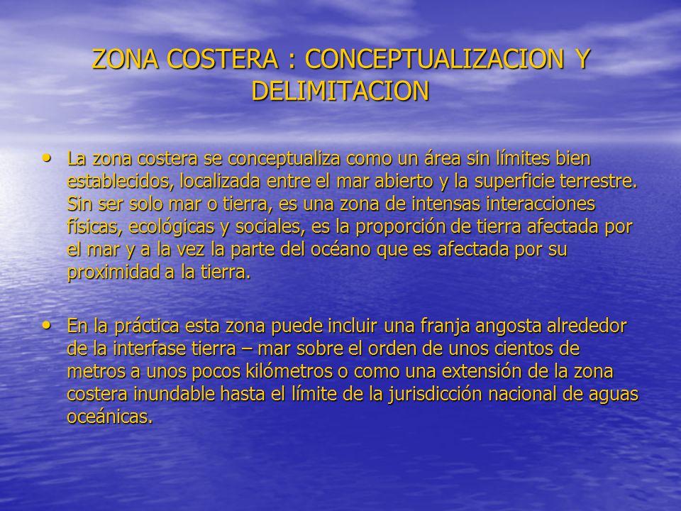 ZONA COSTERA : CONCEPTUALIZACION Y DELIMITACION La zona costera se conceptualiza como un área sin límites bien establecidos, localizada entre el mar abierto y la superficie terrestre.