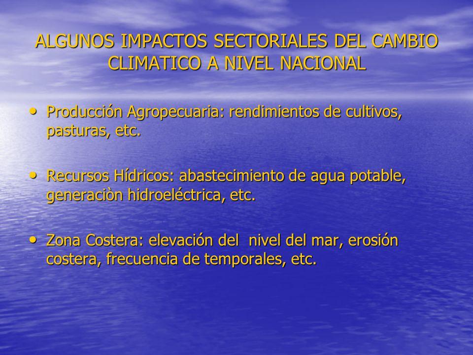 ALGUNOS IMPACTOS SECTORIALES DEL CAMBIO CLIMATICO A NIVEL NACIONAL Producción Agropecuaria: rendimientos de cultivos, pasturas, etc. Producción Agrope
