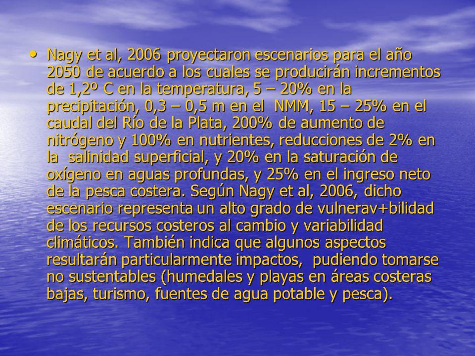 Nagy et al, 2006 proyectaron escenarios para el año 2050 de acuerdo a los cuales se producirán incrementos de 1,2º C en la temperatura, 5 – 20% en la