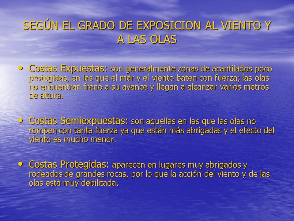 SEGÚN EL GRADO DE EXPOSICION AL VIENTO Y A LAS OLAS Costas Expuestas: son generalmente zonas de acantilados poco protegidas, en las que el mar y el vi