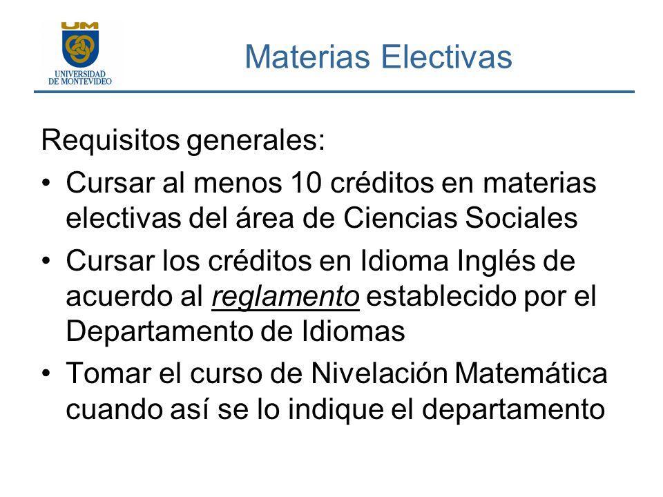 Materias Electivas Requisitos generales: Cursar al menos 10 créditos en materias electivas del área de Ciencias Sociales Cursar los créditos en Idioma