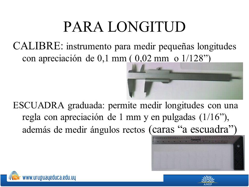 PARA LONGITUD CALIBRE: instrumento para medir pequeñas longitudes con apreciación de 0,1 mm ( 0,02 mm o 1/128) ESCUADRA graduada: permite medir longit