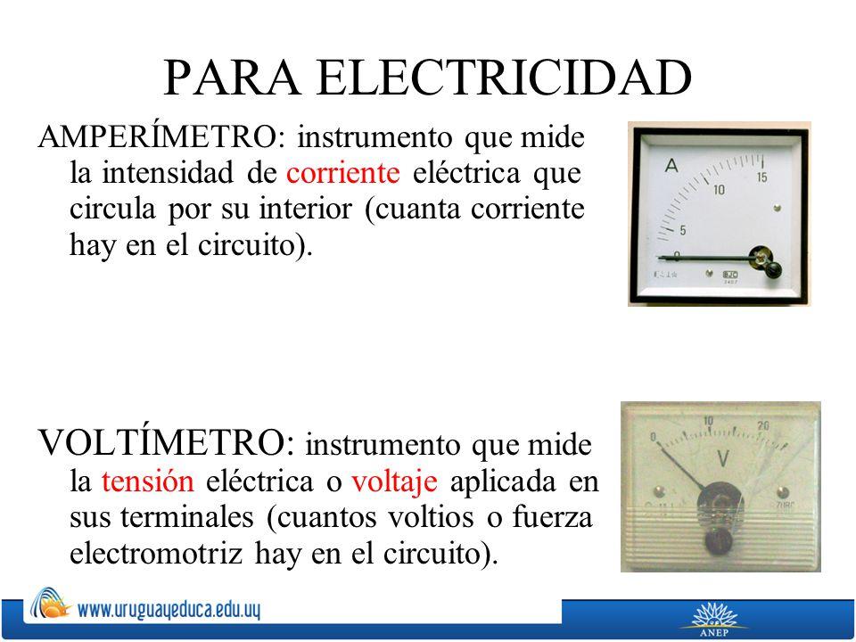 PARA ELECTRICIDAD AMPERÍMETRO: instrumento que mide la intensidad de corriente eléctrica que circula por su interior (cuanta corriente hay en el circu