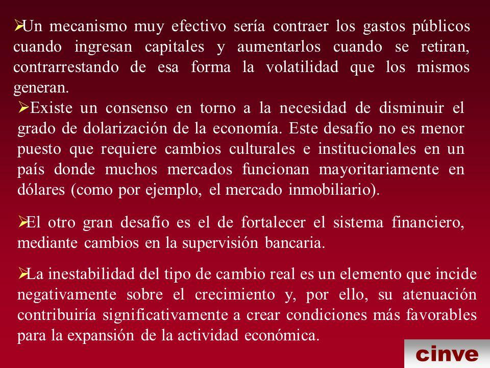 cinve Un mecanismo muy efectivo sería contraer los gastos públicos cuando ingresan capitales y aumentarlos cuando se retiran, contrarrestando de esa forma la volatilidad que los mismos generan.