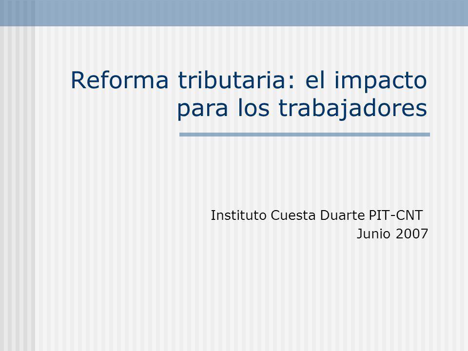 Reforma tributaria: el impacto para los trabajadores Instituto Cuesta Duarte PIT-CNT Junio 2007