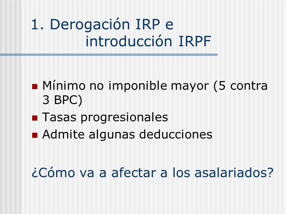 1. Derogación IRP e introducción IRPF Mínimo no imponible mayor (5 contra 3 BPC) Tasas progresionales Admite algunas deducciones ¿Cómo va a afectar a