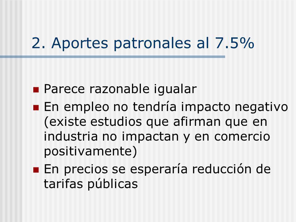 2. Aportes patronales al 7.5% Parece razonable igualar En empleo no tendría impacto negativo (existe estudios que afirman que en industria no impactan