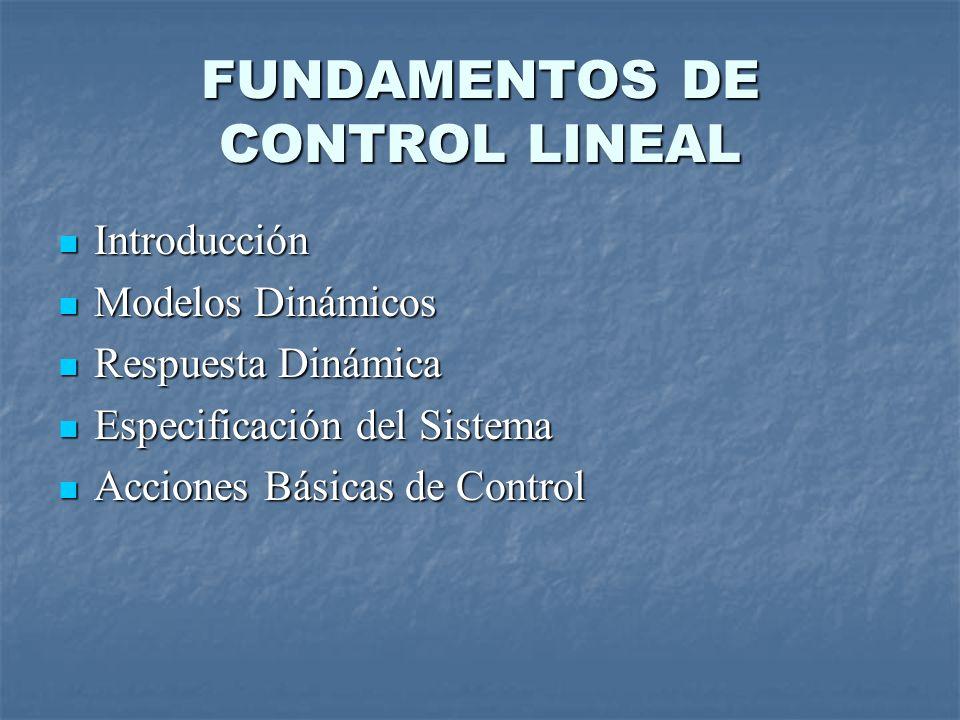FUNDAMENTOS DE CONTROL LINEAL Introducción Introducción Modelos Dinámicos Modelos Dinámicos Respuesta Dinámica Respuesta Dinámica Especificación del Sistema Especificación del Sistema Acciones Básicas de Control Acciones Básicas de Control