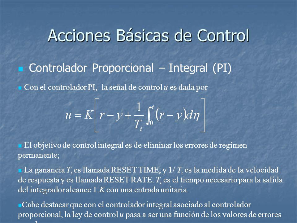 Acciones Básicas de Control Controlador Proporcional – Integral (PI) Con el controlador PI, la señal de control u es dada por El objetivo de control integral es de eliminar los errores de regimen permanente; La ganancia T i es llamada RESET TIME, y 1/ T i es la medida de la velocidad de respuesta y es llamada RESET RATE.