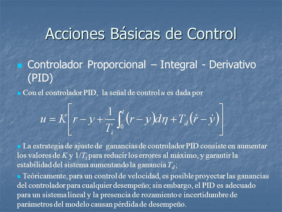 Acciones Básicas de Control Controlador Proporcional – Integral - Derivativo (PID) Con el controlador PID, la señal de control u es dada por La estrategia de ajuste de ganancias de controlador PID consiste en aumentar los valores de K y 1/T i para reducir los errores al máximo, y garantir la estabilidad del sistema aumentando la ganancia T d ; Teóricamente, para un control de velocidad, es posible proyectar las ganancias del controlador para cualquier desempeño; sin embargo, el PID es adecuado para un sistema lineal y la presencia de rozamiento e incertidumbre de parámetros del modelo causan pérdida de desempeño.