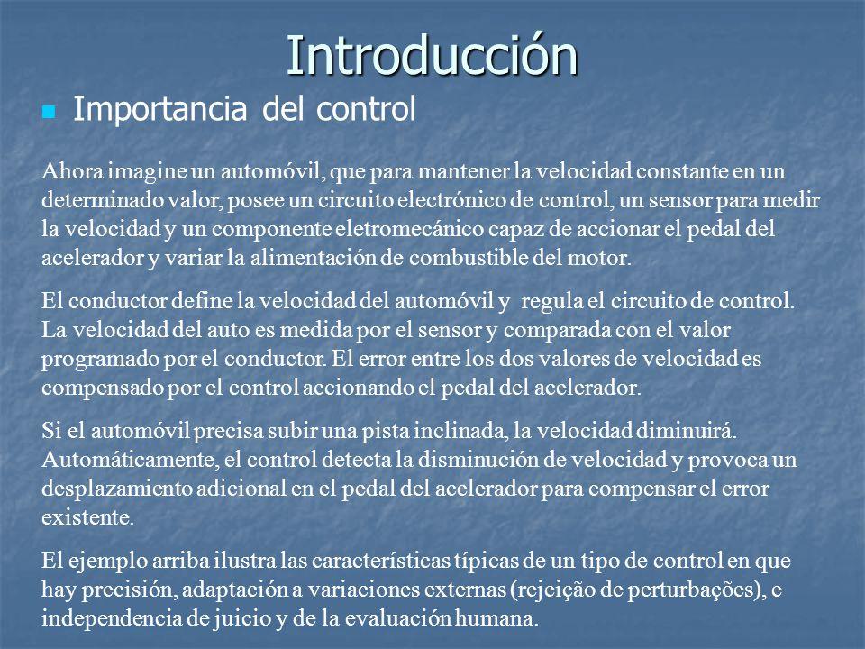 Acciones Básicas de Control Controlador Proporcional La señal de control u aplicado a cada instante a la planta es proporcional a la amplitud del valor de señal de error e; Reduce los errores de malla cerrada, mas no es capaz de eliminar errores de regimen permanente; Para un sistema de orden superior, la ganancia del controlador proporcional es limitado, pues el aumento puede llevar el sistema a la inestabilidad; Consecuentemente, la reducción de errores es limitada