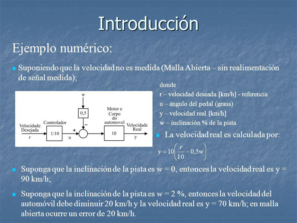 Introducción Ejemplo numérico: Suponiendo que la velocidad no es medida (Malla Abierta – sin realimentación de señal medida); donde r – velocidad deseada [km/h] - referencia u – ángulo del pedal (graus) y – velocidad real [km/h] w – inclinación % de la pista Suponga que la inclinación de la pista es w = 0, entonces la velocidad real es y = 90 km/h; Suponga que la inclinación de la pista es w = 2 %, entonces la velocidad del automóvil debe diminuir 20 km/h y la velocidad real es y = 70 km/h; en malla abierta ocurre un error de 20 km/h.