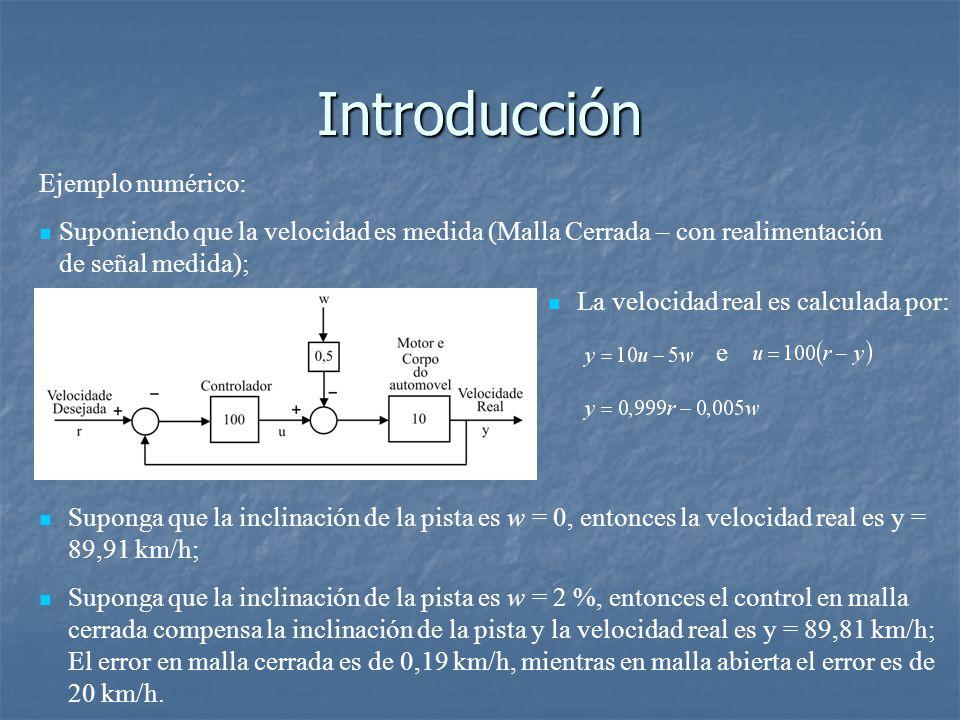 Introducción Ejemplo numérico: Suponiendo que la velocidad es medida (Malla Cerrada – con realimentación de señal medida); Suponga que la inclinación de la pista es w = 0, entonces la velocidad real es y = 89,91 km/h; Suponga que la inclinación de la pista es w = 2 %, entonces el control en malla cerrada compensa la inclinación de la pista y la velocidad real es y = 89,81 km/h; El error en malla cerrada es de 0,19 km/h, mientras en malla abierta el error es de 20 km/h.