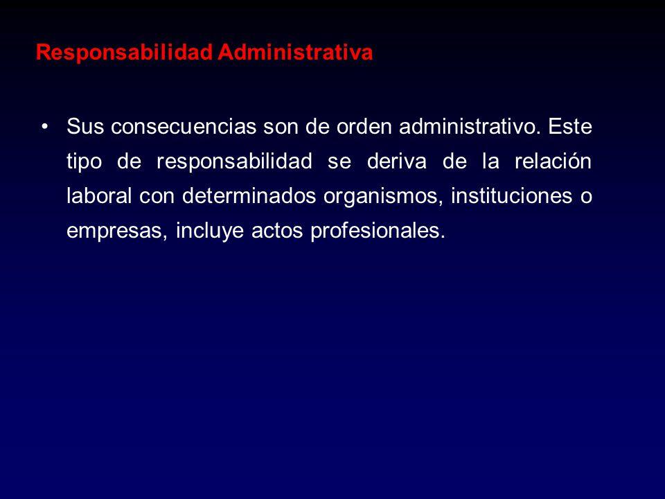 Responsabilidad Administrativa Sus consecuencias son de orden administrativo. Este tipo de responsabilidad se deriva de la relación laboral con determ
