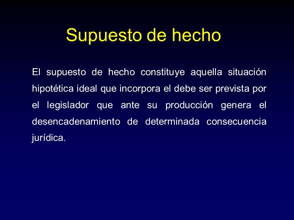 El supuesto de hecho constituye aquella situación hipotética ideal que incorpora el debe ser prevista por el legislador que ante su producción genera