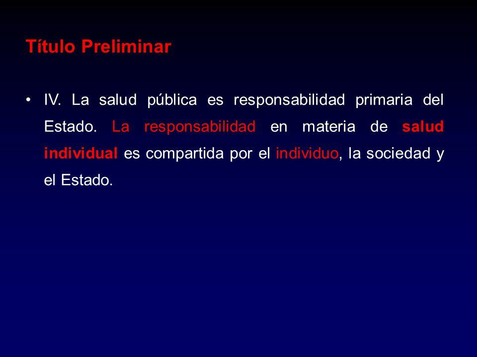 IV. La salud pública es responsabilidad primaria del Estado. La responsabilidad en materia de salud individual es compartida por el individuo, la soci