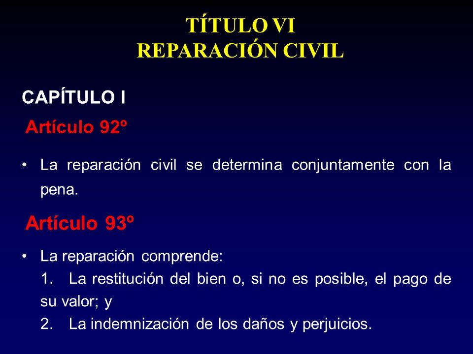 La reparación civil se determina conjuntamente con la pena. Artículo 92º CAPÍTULO I La reparación comprende: 1.La restitución del bien o, si no es pos