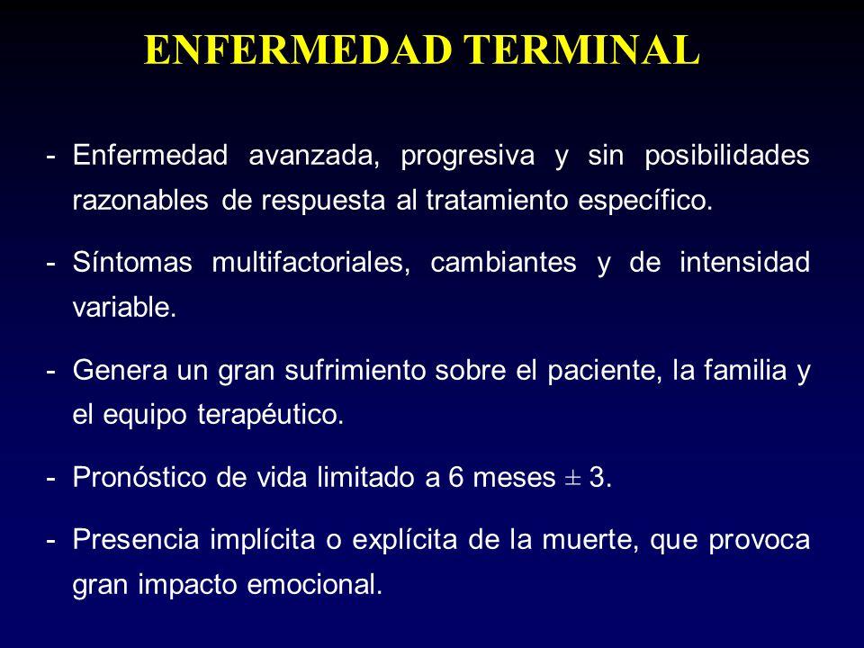 -Enfermedad avanzada, progresiva y sin posibilidades razonables de respuesta al tratamiento específico. -Síntomas multifactoriales, cambiantes y de in