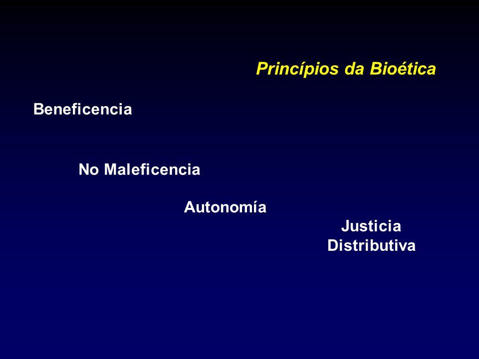 Princípios da Bioética Beneficencia Autonomía No Maleficencia Justicia Distributiva